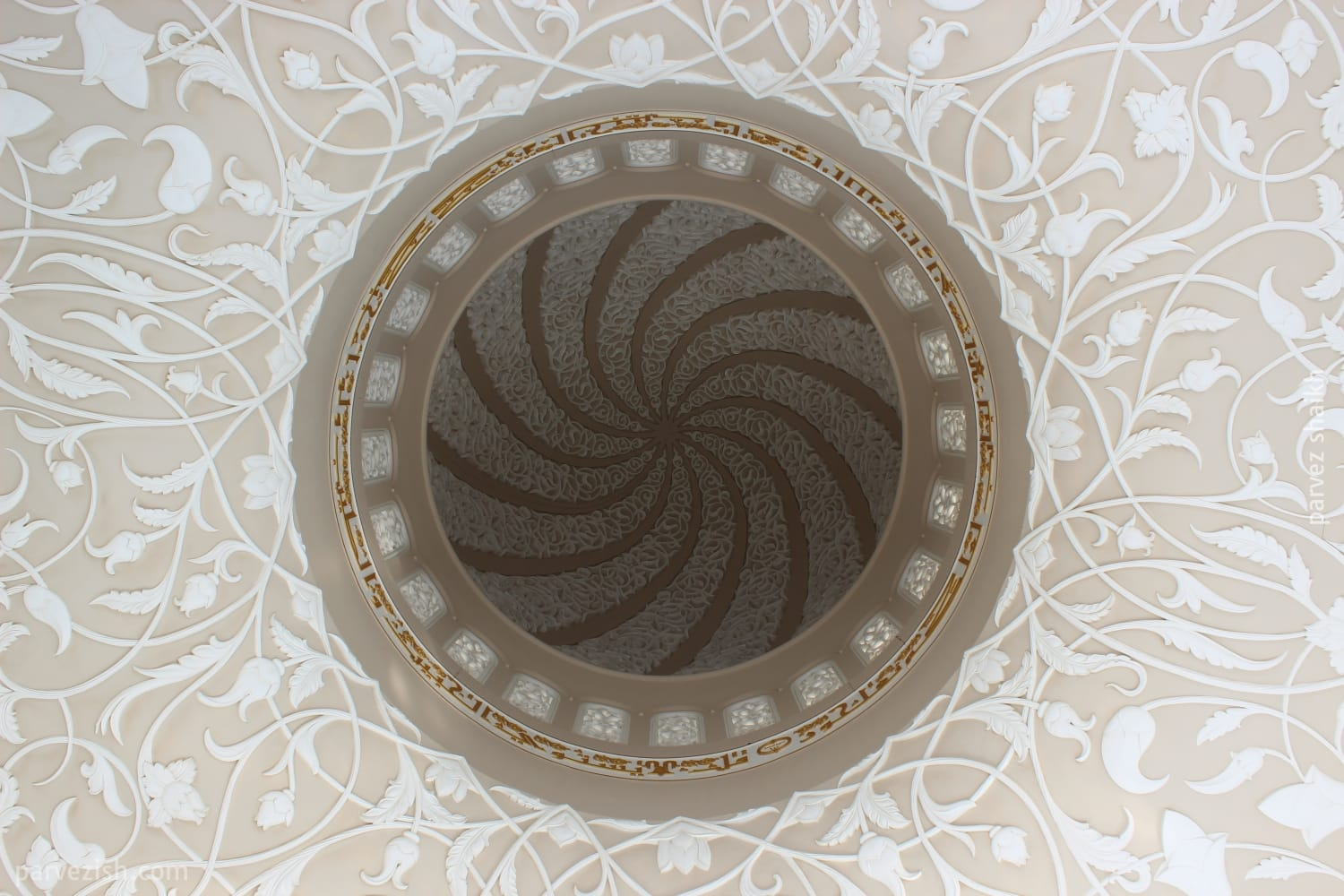 Inside a Dome of Abu Dhabi Grand Mosque