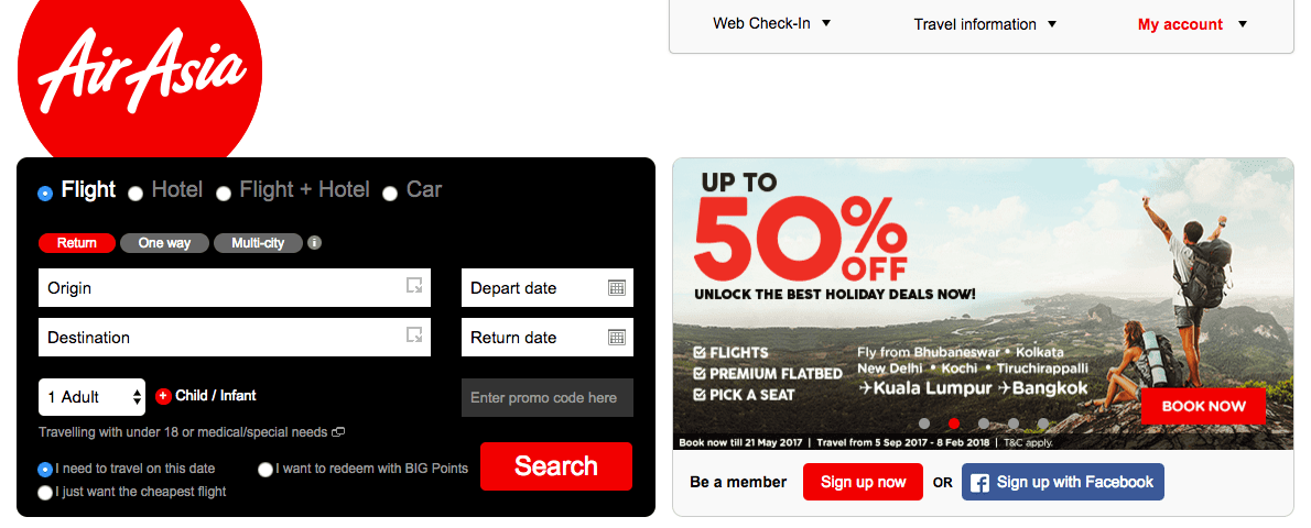 AirAsia Homepage