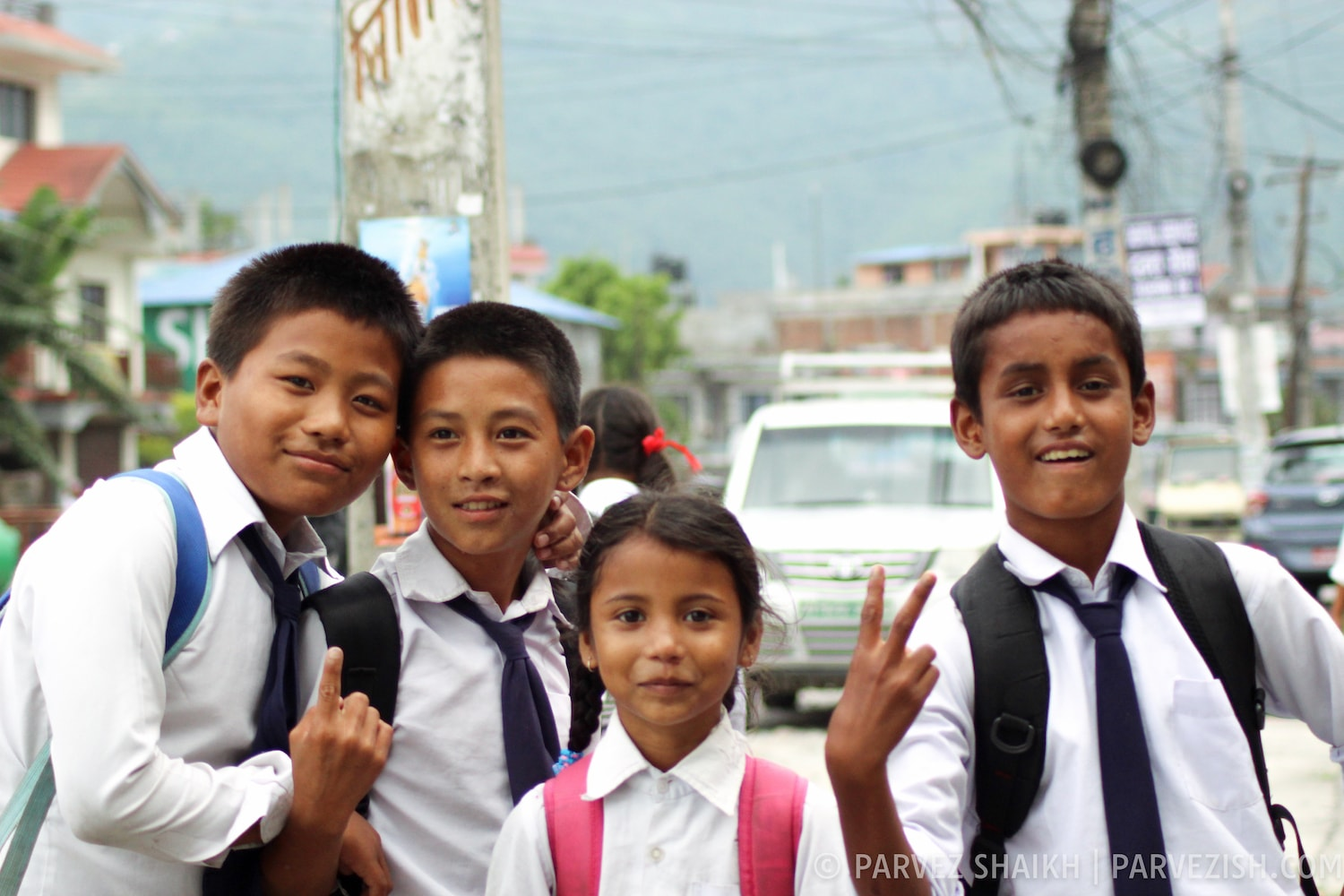 Children Returning from School in Pokhara, Nepal