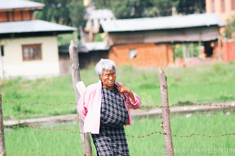 An Elderly Bhutanese Woman in Paro