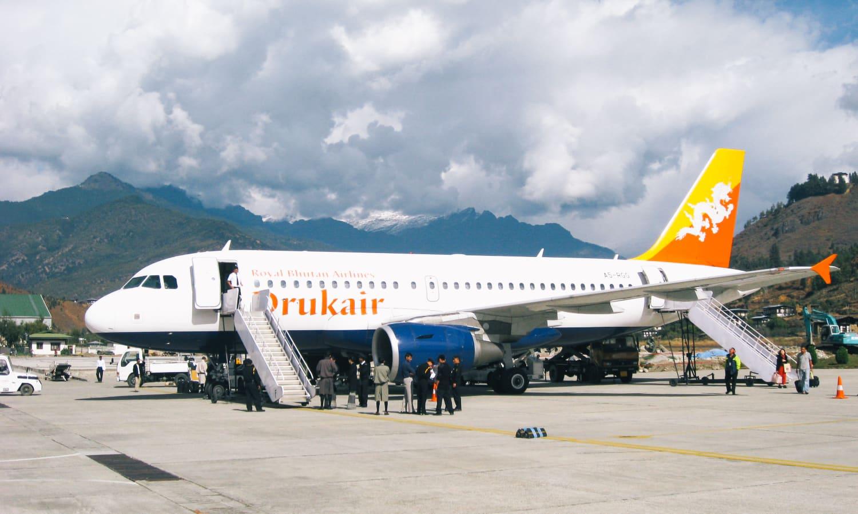 A Drukair Plane At Paro Airport, Bhutan