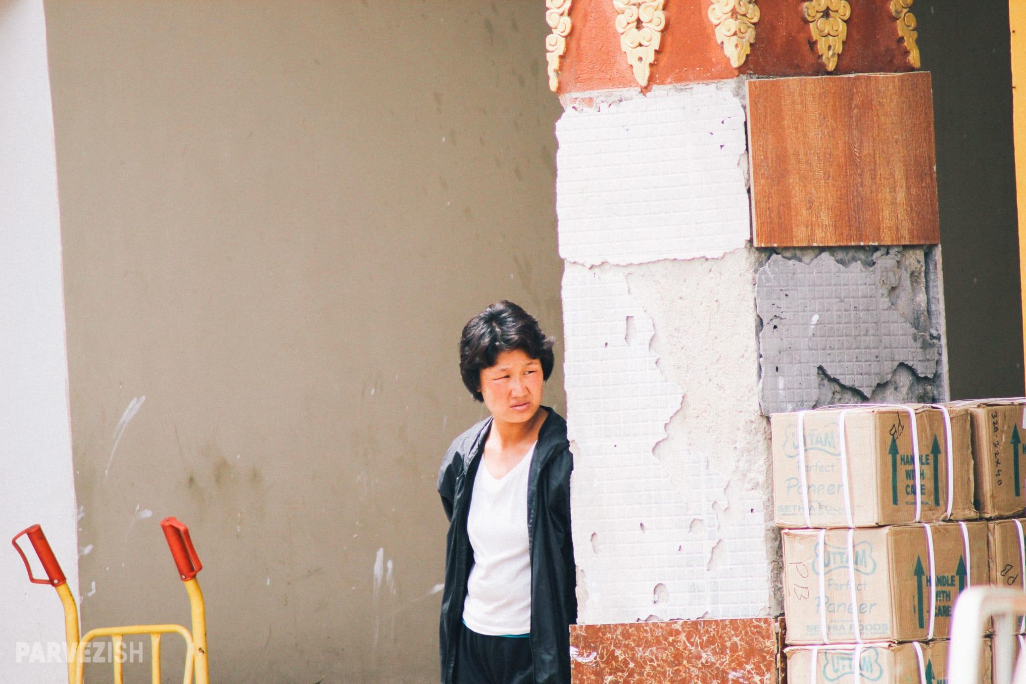 A Woman in Streets of Paro Bhutan