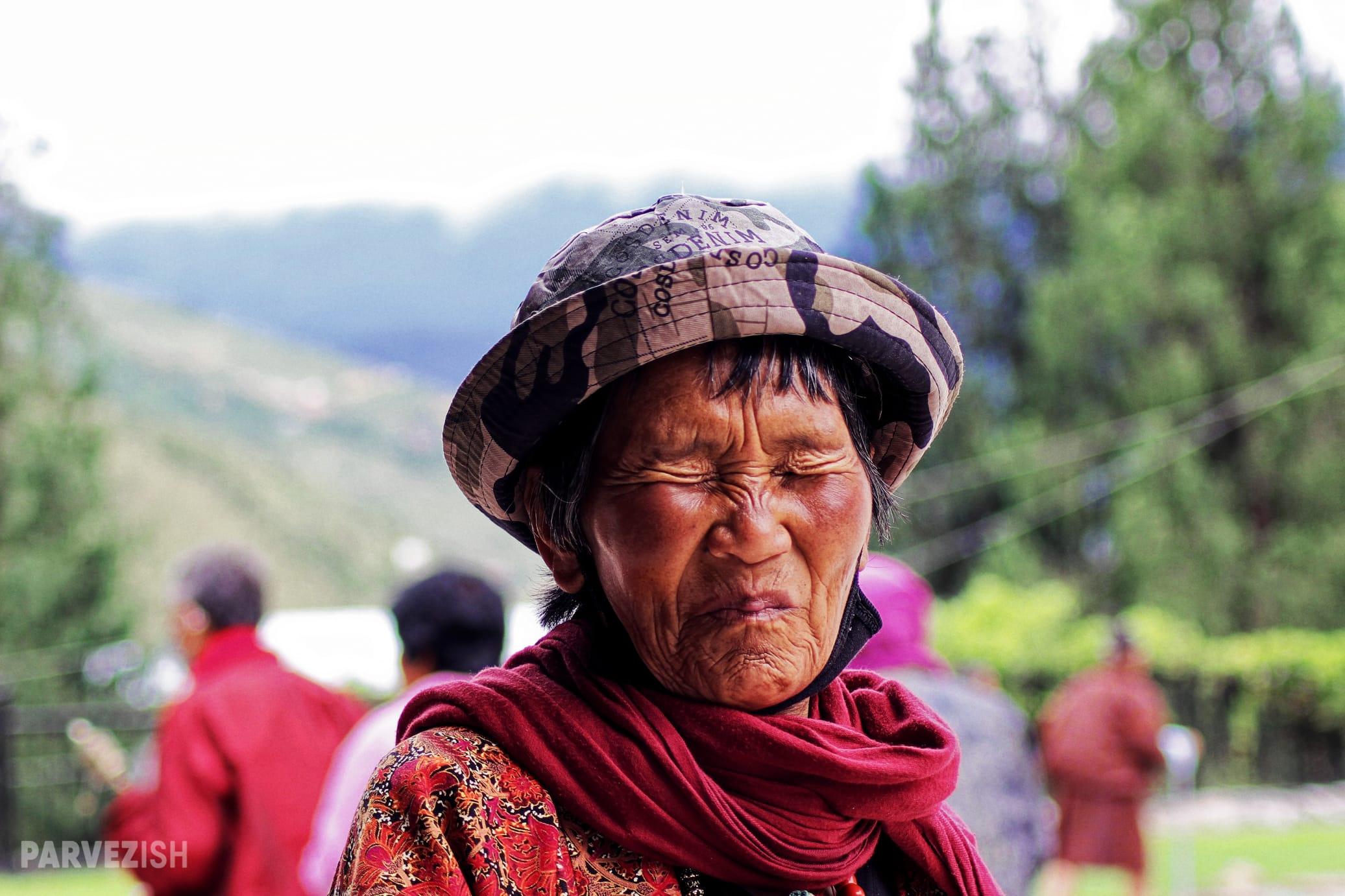 An Elderly Woman Memorial Chorten Thimpu Bhutan