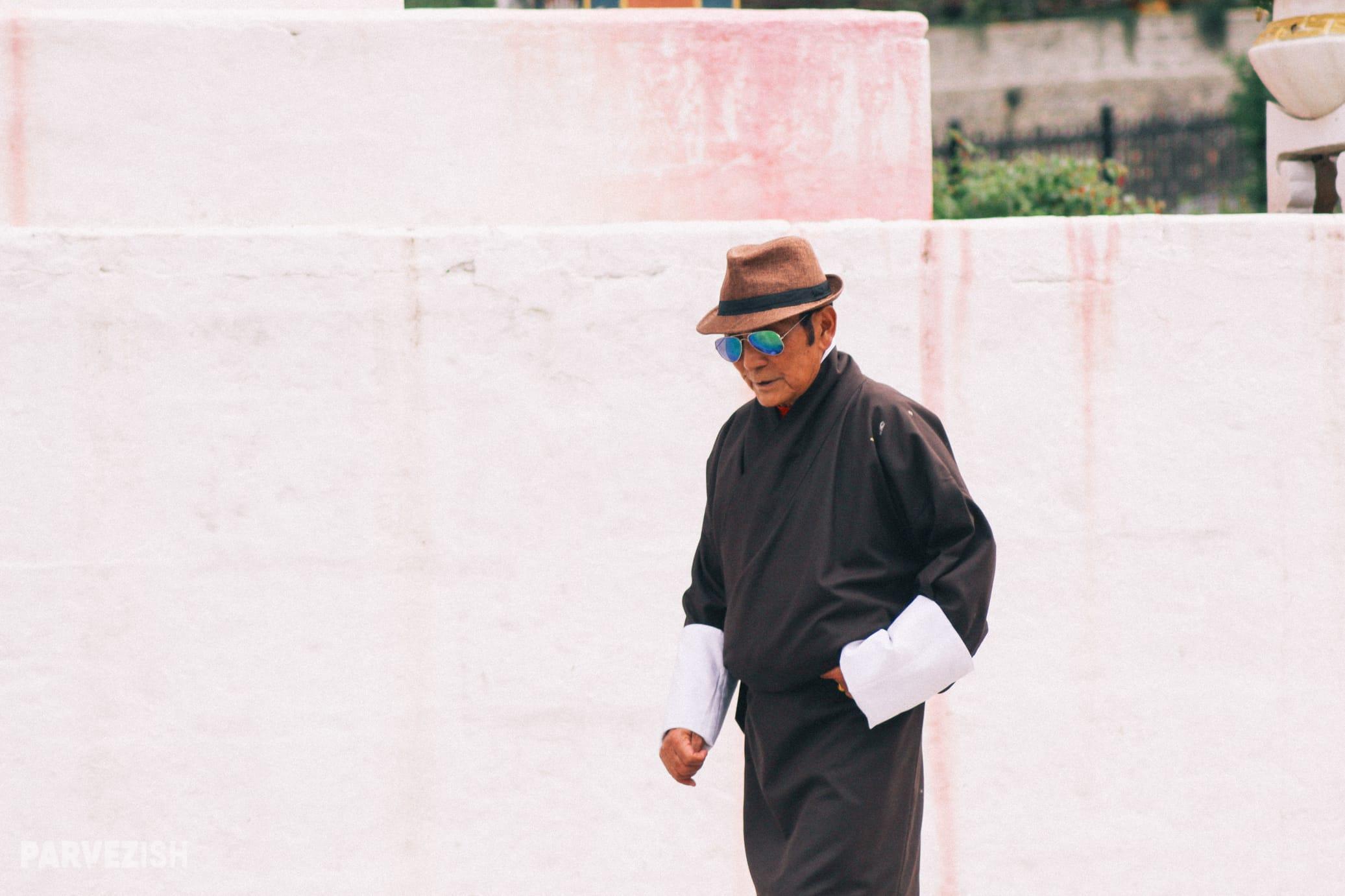 A Man Circumambulating at Memorial Chorten Bhutan