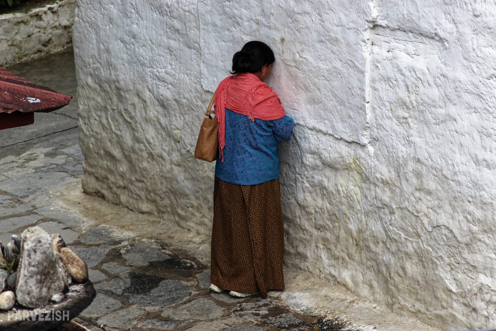 A Woman Praying in Thimpu Bhutan
