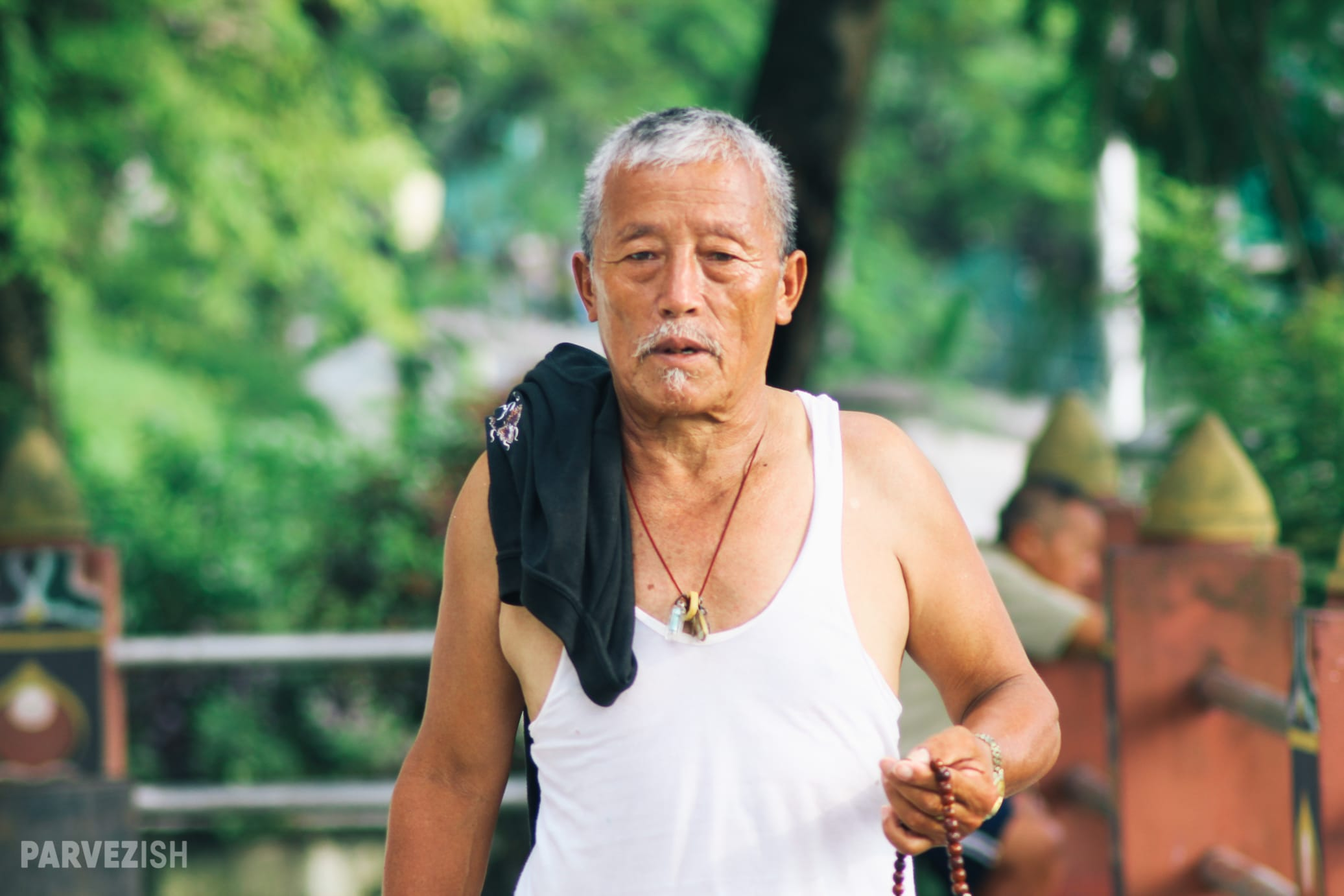 A Man Circumambulating Around a Temple in Phuntsholing