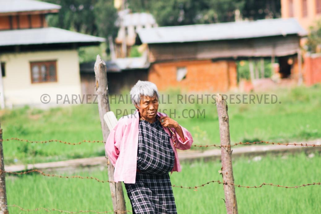 An Elderly Bhutanese Woman in Paro, Bhutan