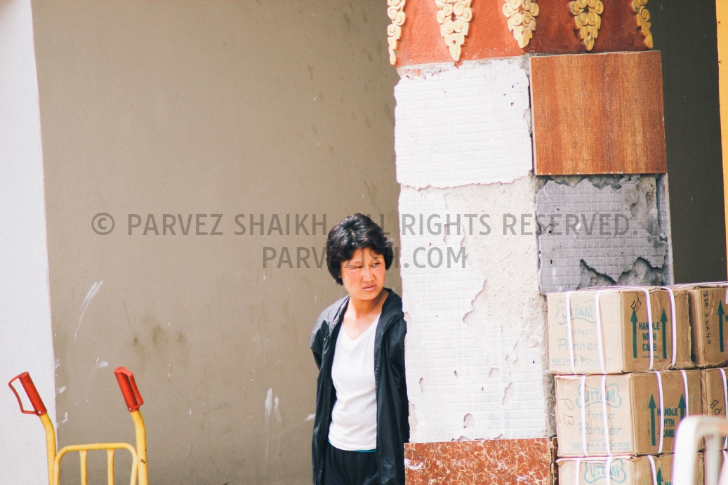 A Bhutanese lady photographed in Paro market