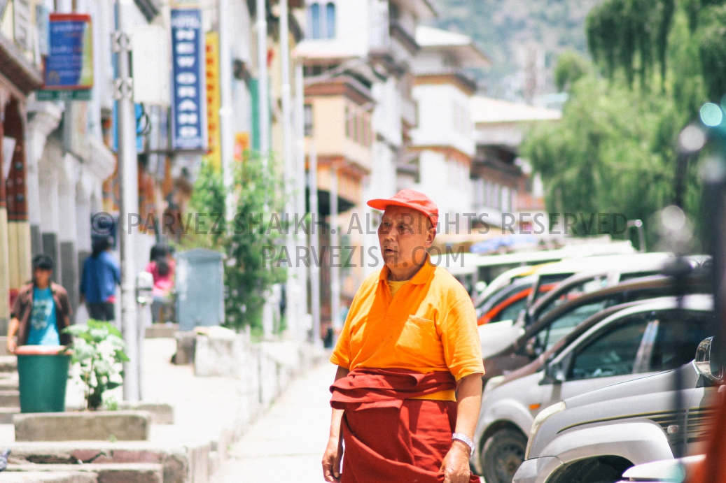 A Bhutanese man in photographed in a street of Thimphu