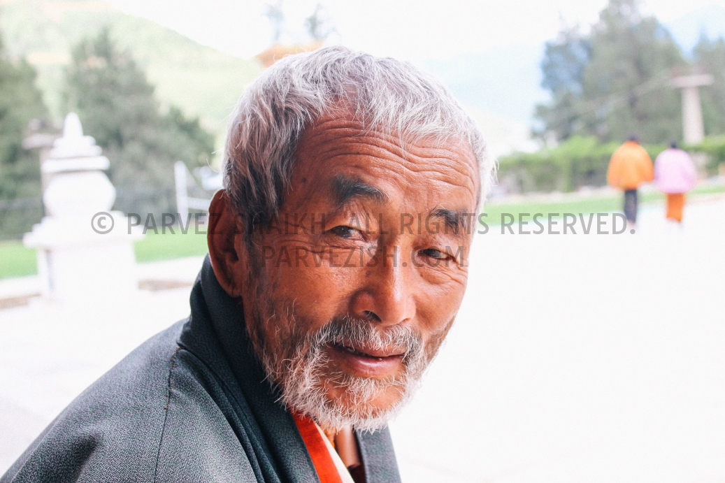 An old Bhutanese man photographed at Memorial Chorten, Thimphu