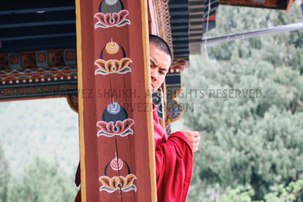 A Buddhist monk photographed at Memorial Chorten, Thimphu