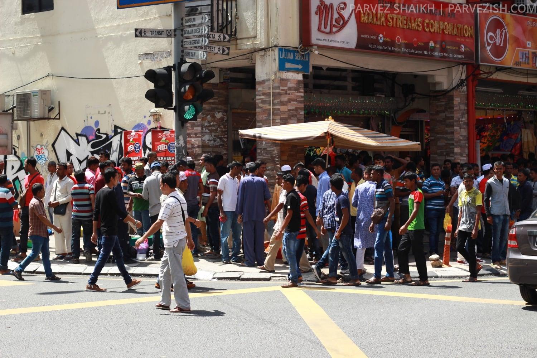 A Crowded Street During Hari Raya in Malaysia