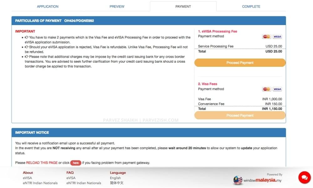 Malaysia eVisa Payment