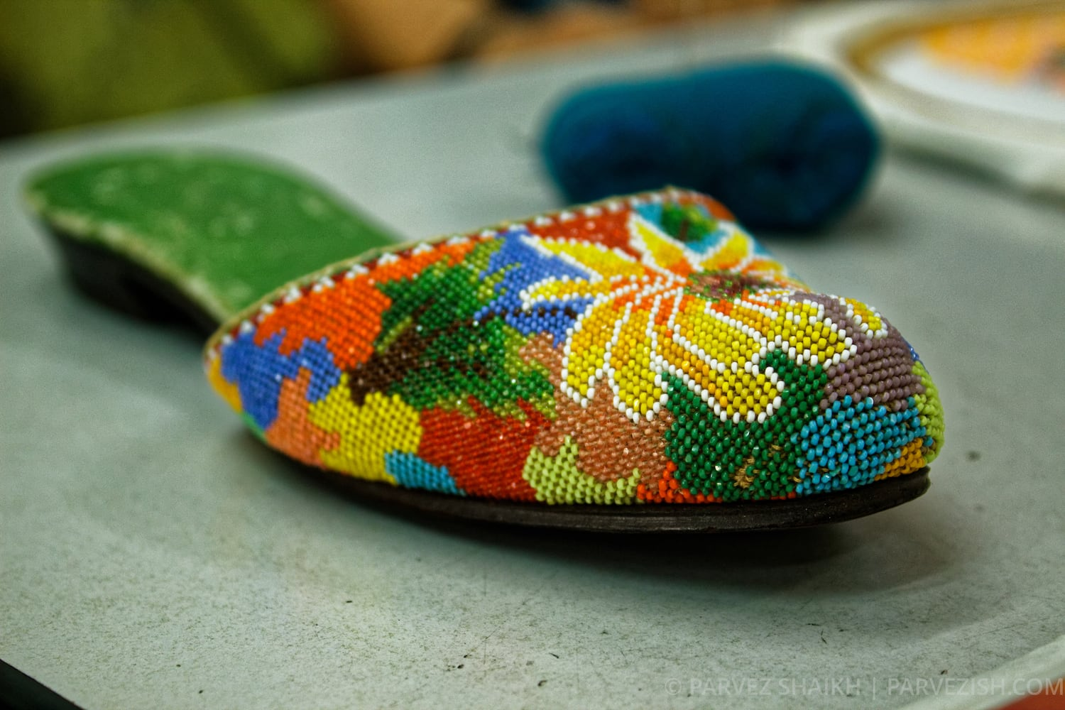 Peranakan beaded slippers in Malacca