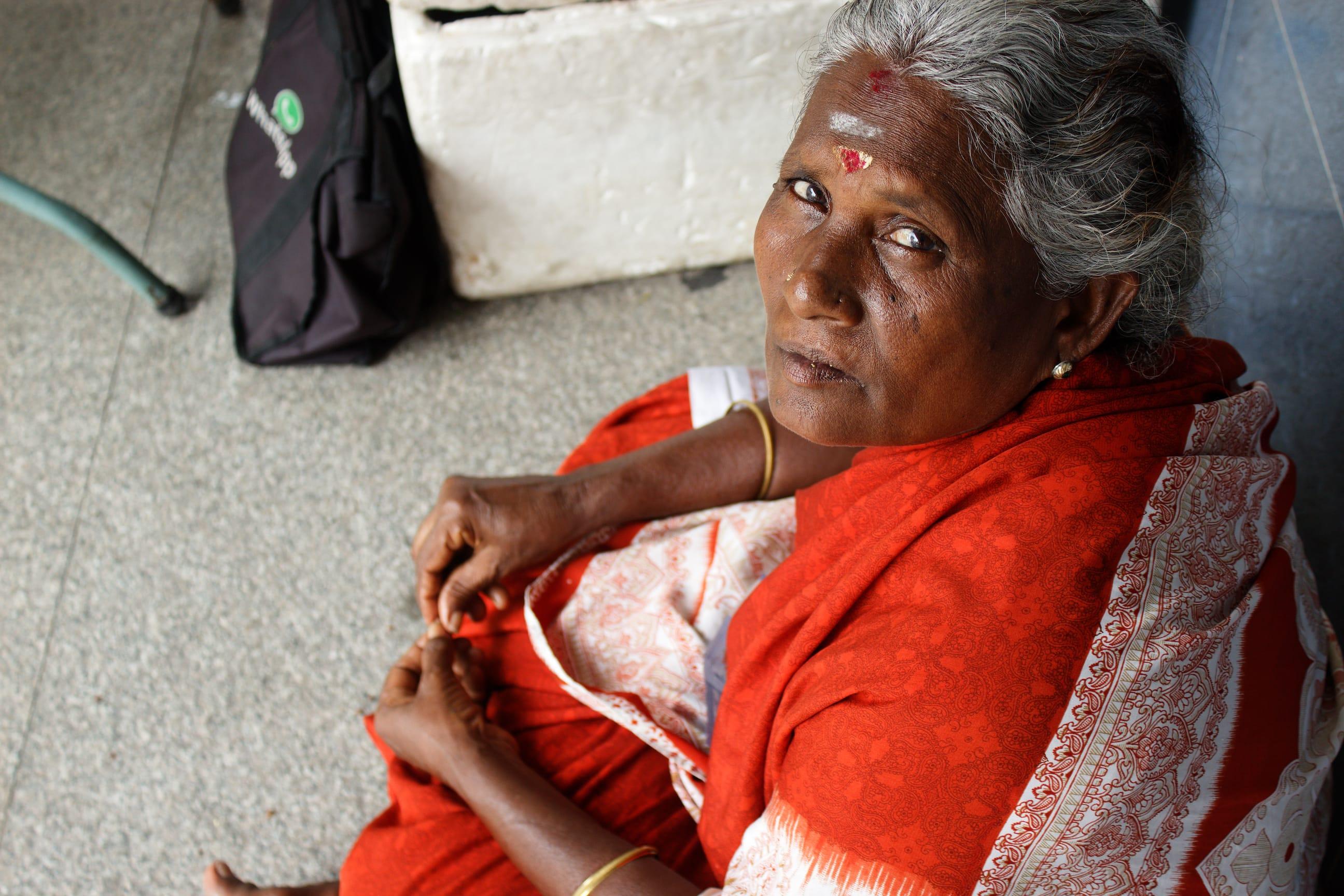 A Woman Outside a Hindu Temple in Kuala Lumpur