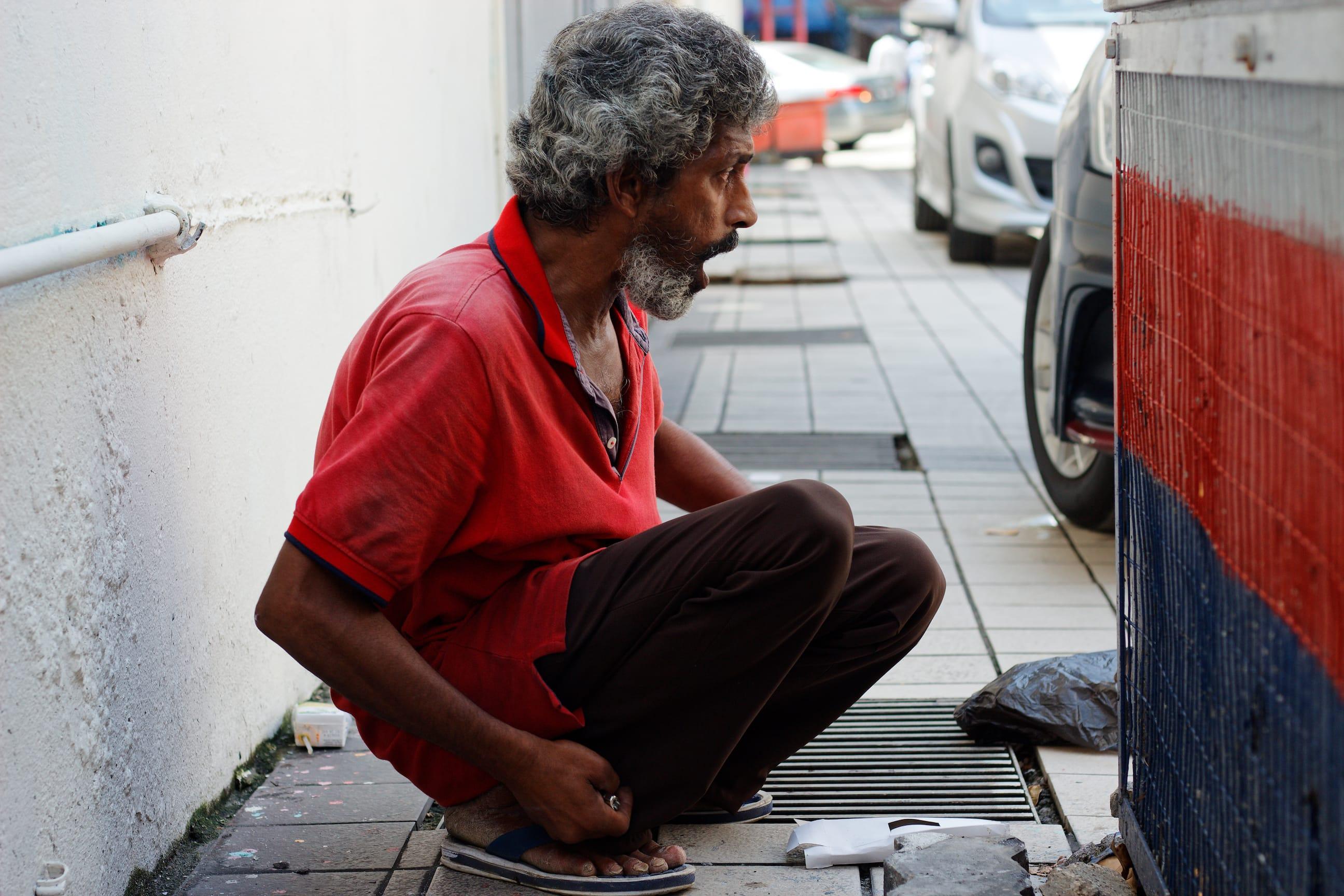 A Homeless Man in Kuala Lumpur Malaysia