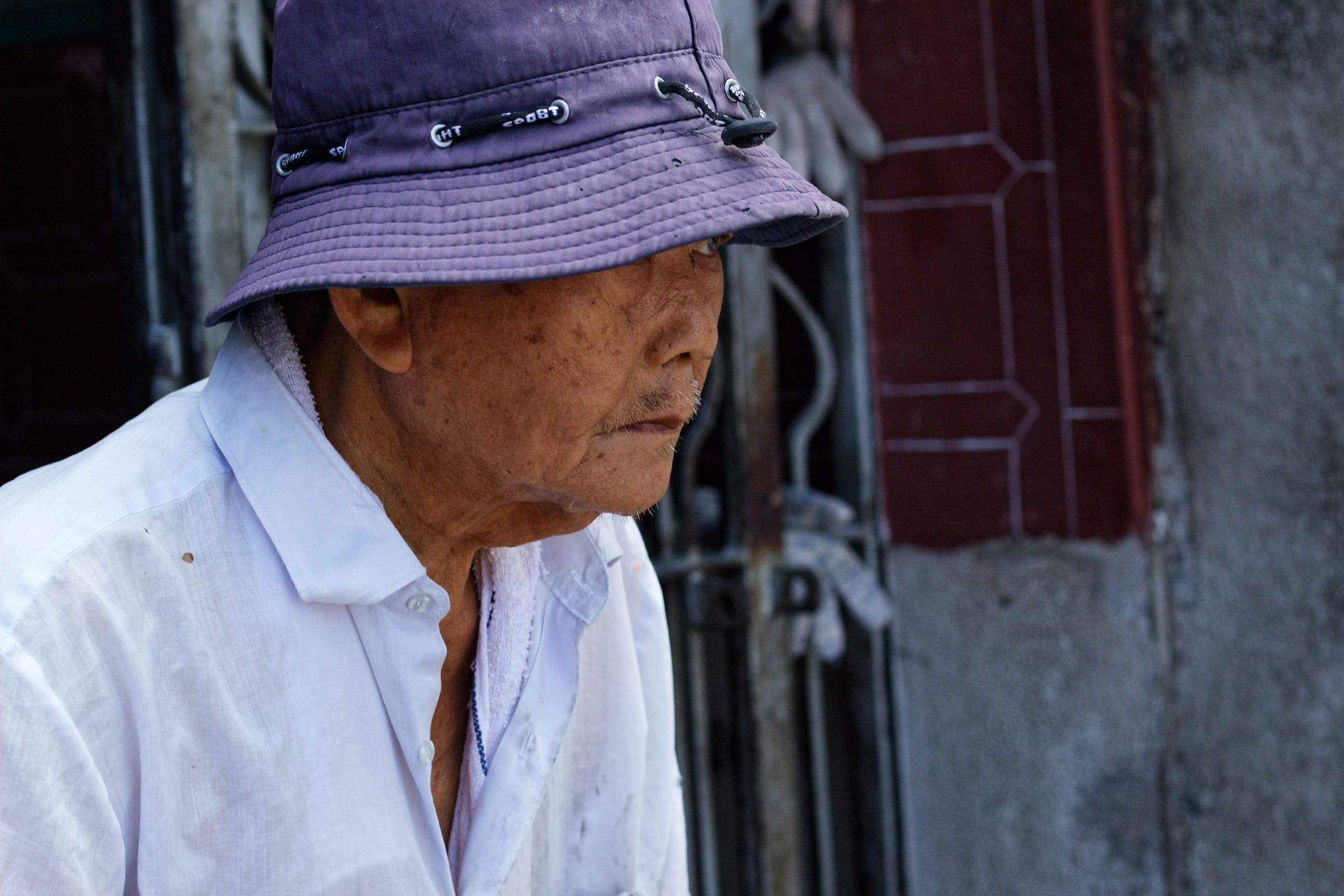 The Man in Hat at a Temple in George Town Malaysia