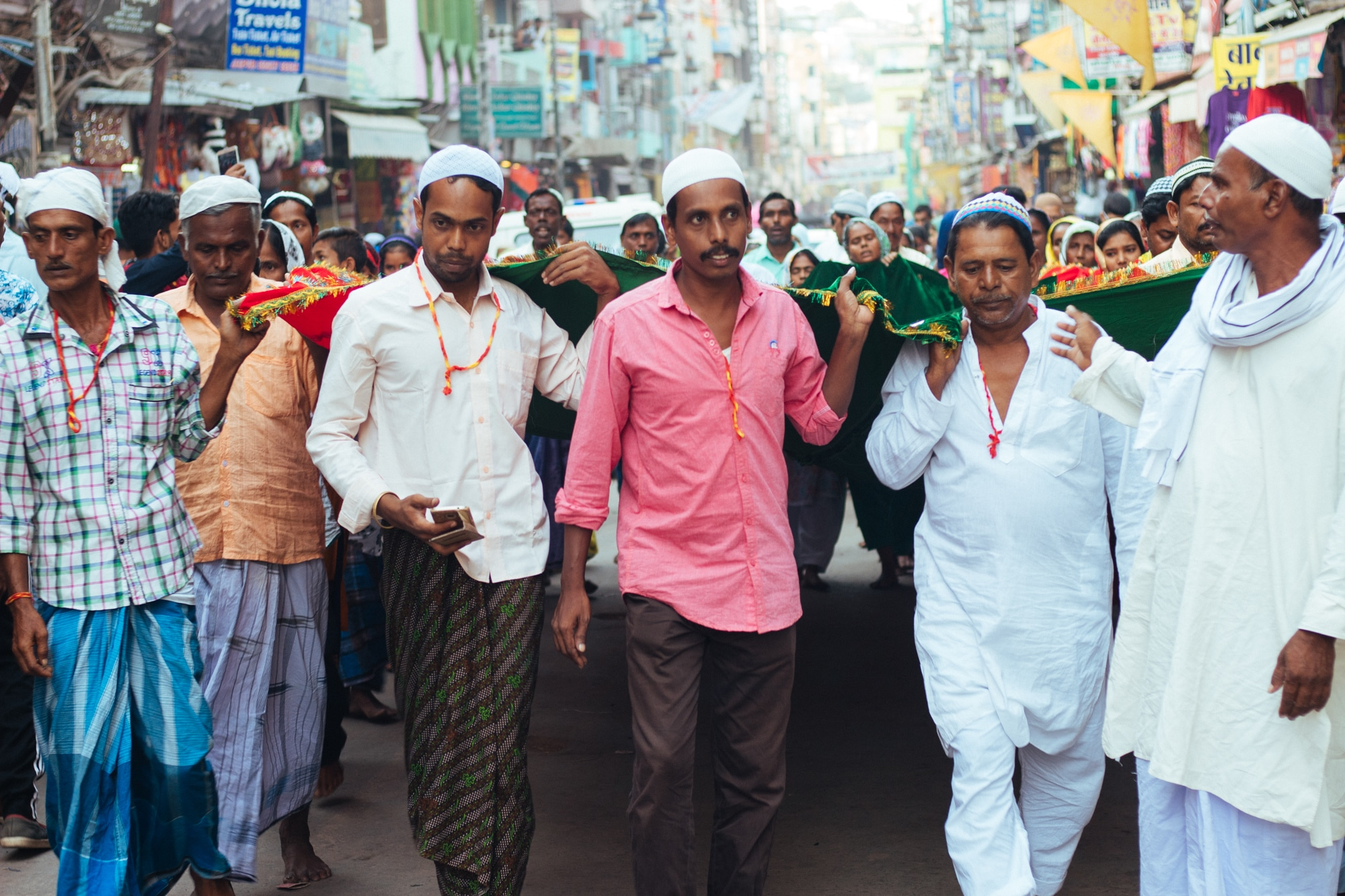 A group of people performing religious ritual in Ajmer
