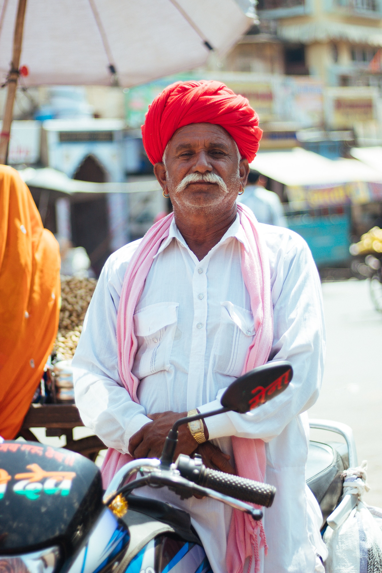 A Rajasthani man stops to pose for a quick picture.