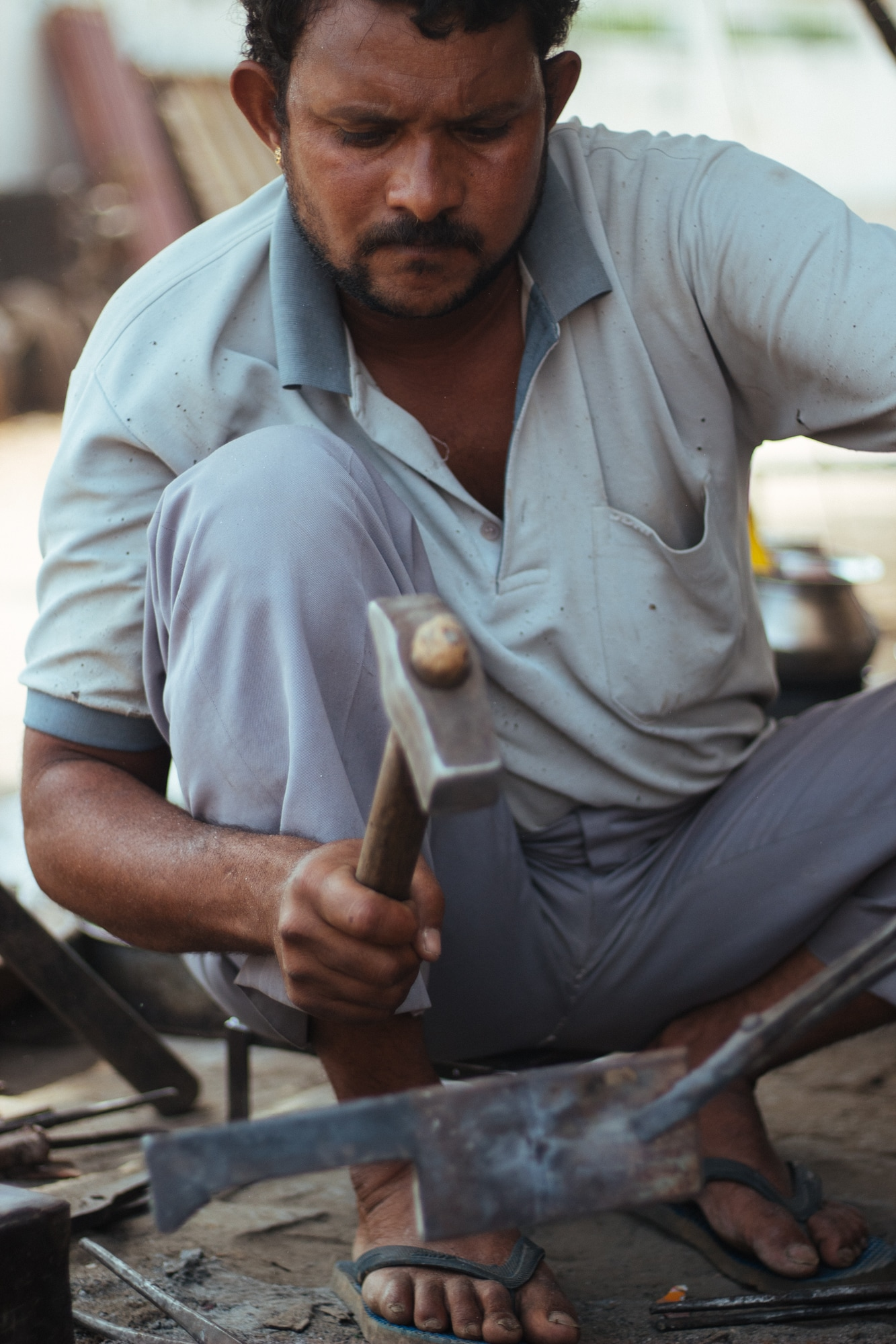 A blacksmith working in Pushkar