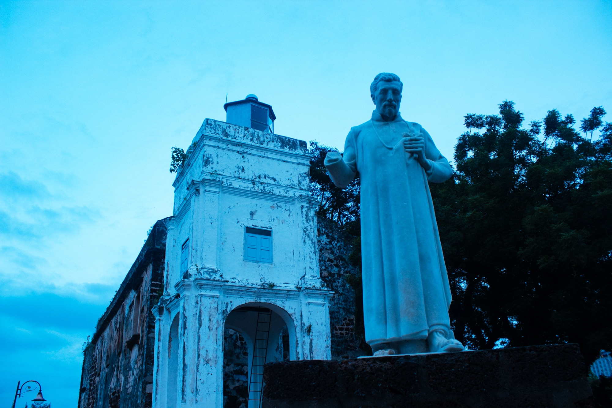 Statue of St Francis Xavier at Saint Paul Church in Malacca