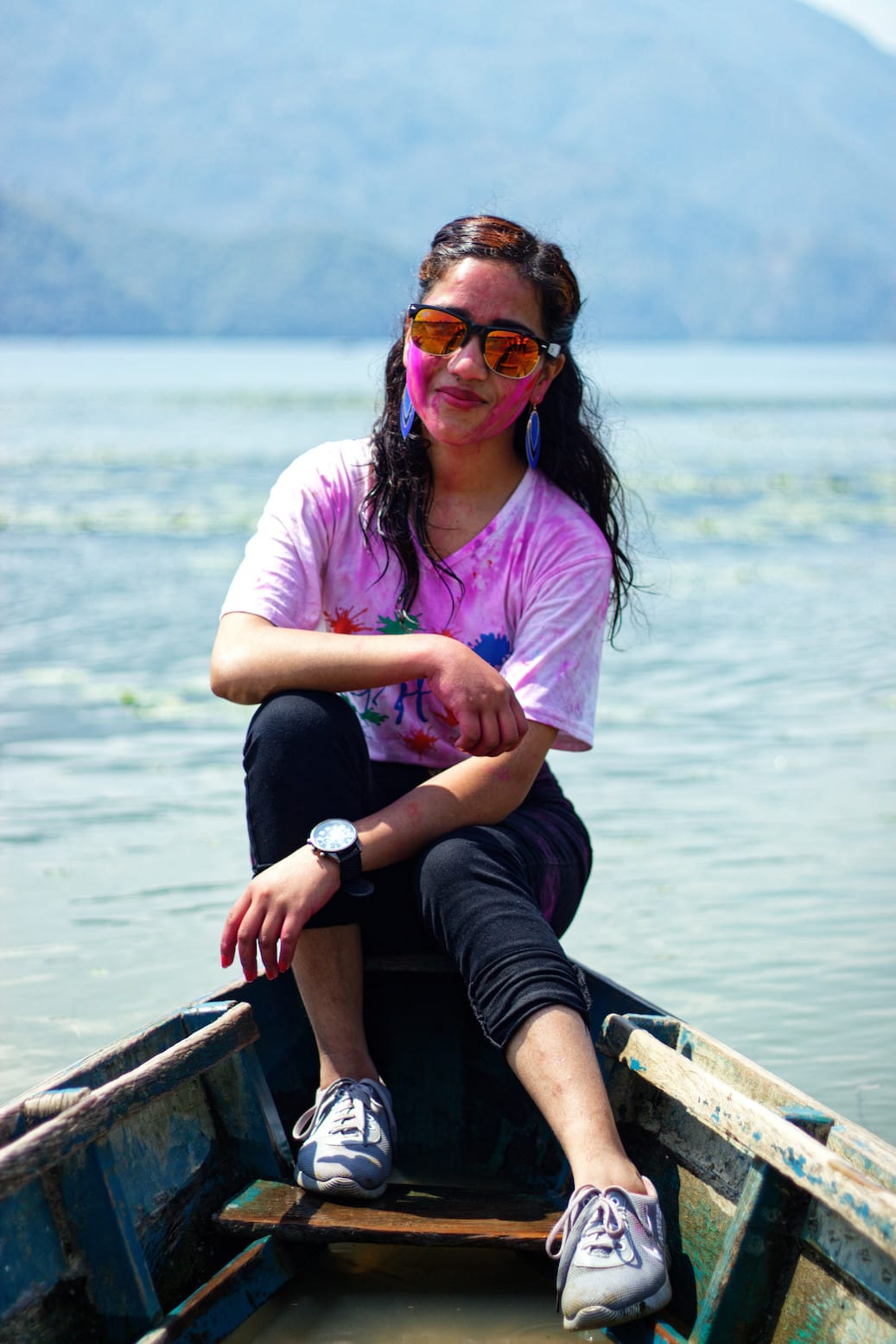 A Girl on A Boat in Phewa Lake Pokhara