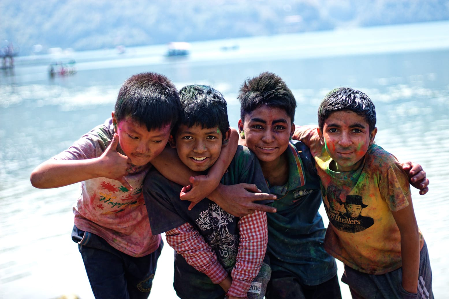 A Group of Young Boys in Pokhara Posing for A Photo