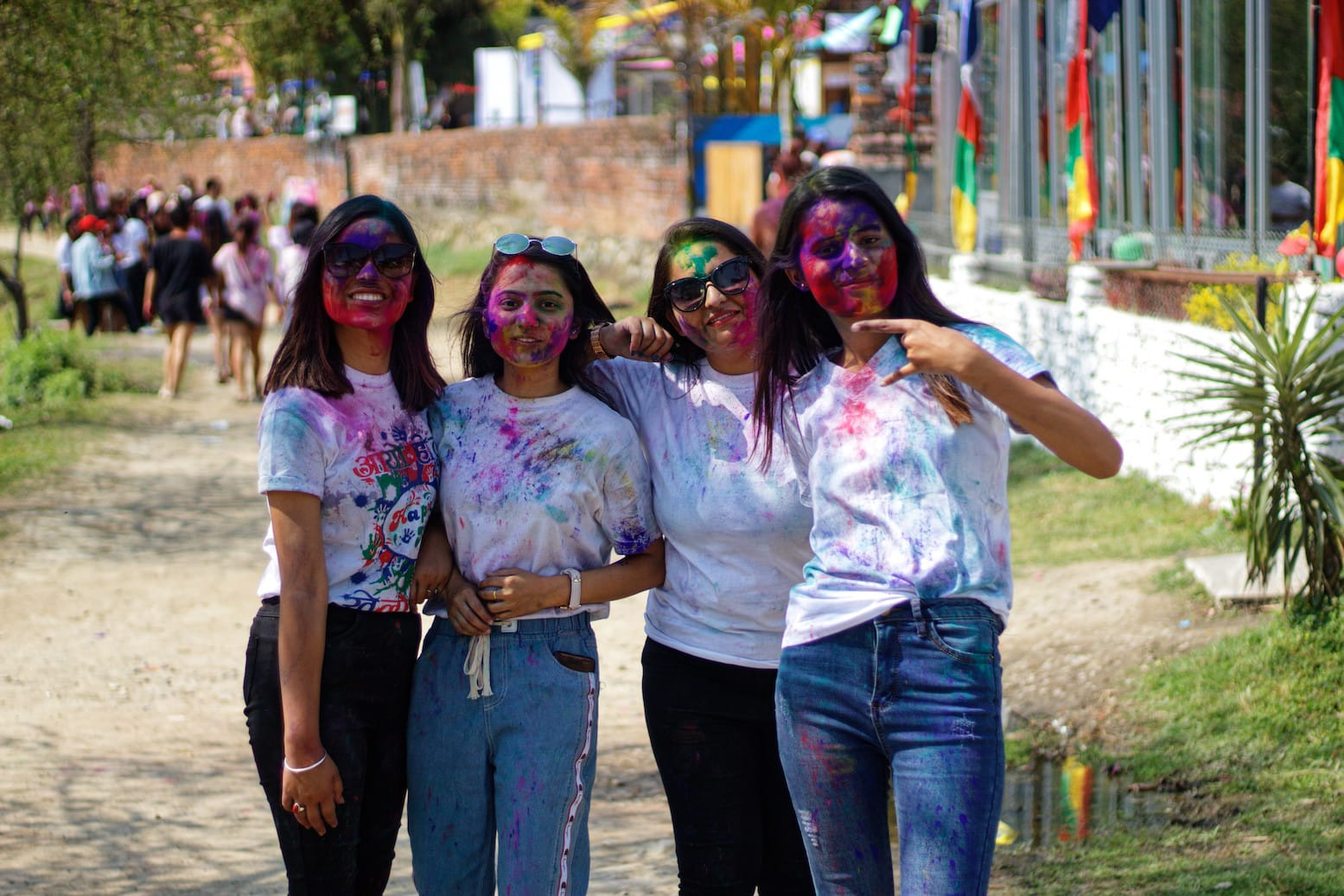A Group of Girls in Pokhara During Holi Celebration