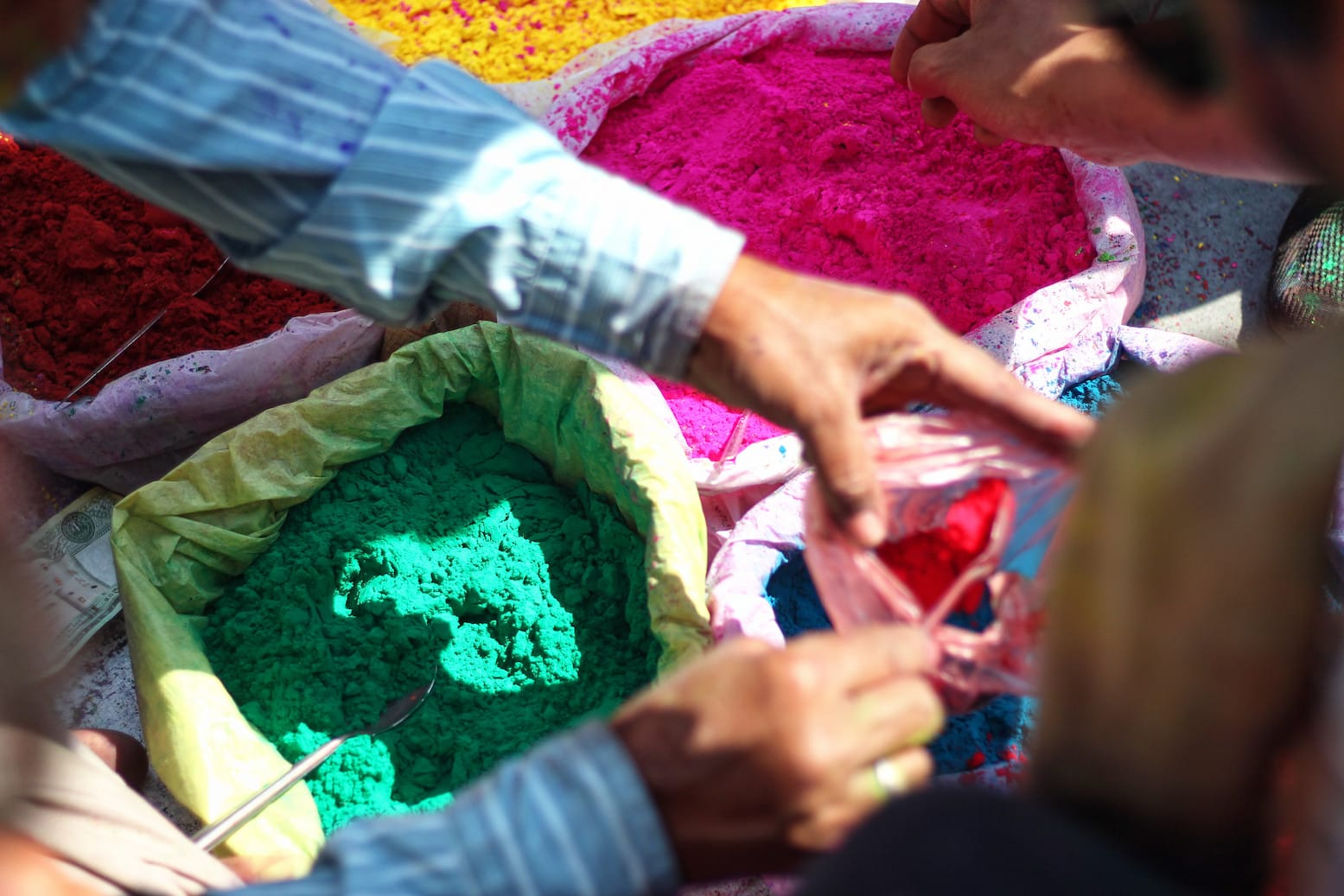 A Vendor Selling Holi Colours