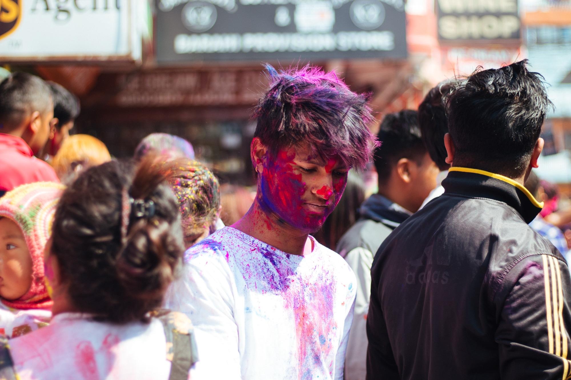 Holi celebrations at the 'center point' Pokhara