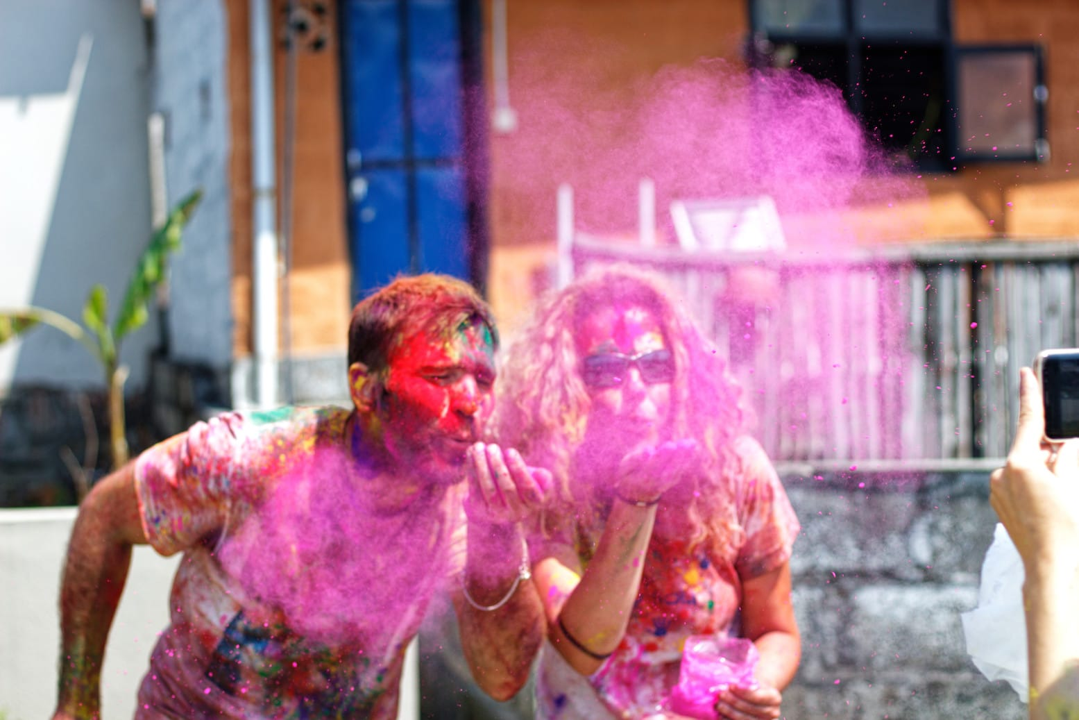 Tourists Playing Holi in Pokhara Nepal