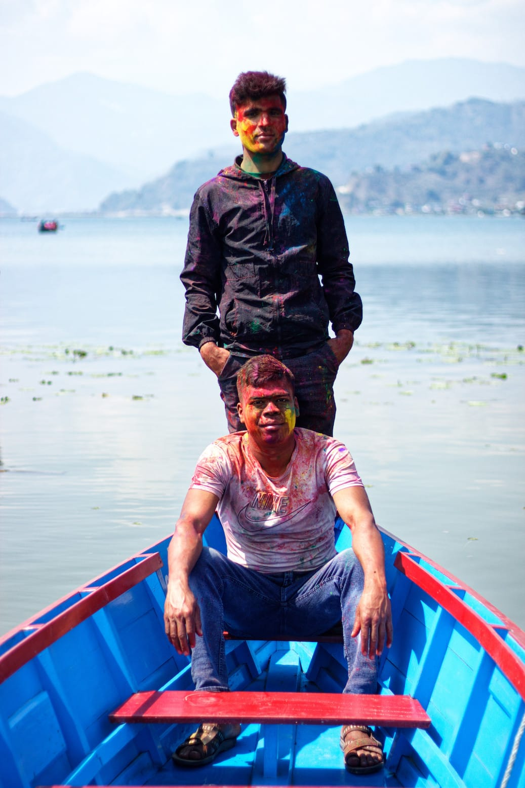 Two Boys on a Boat in Phewa Lake