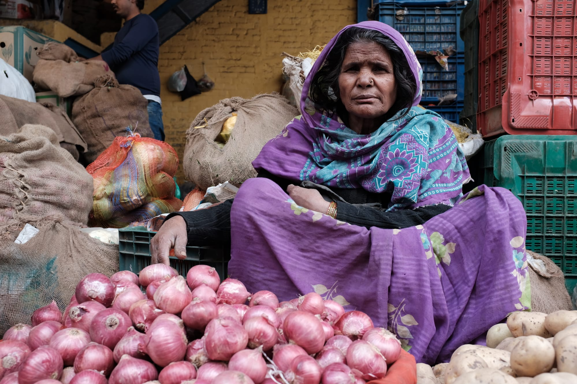 A Woman Selling Vegetables in Delhi
