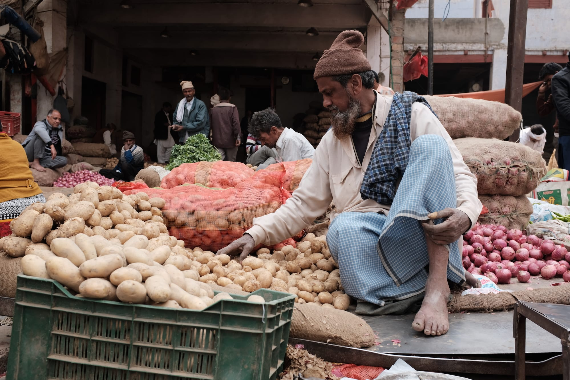 A Man Selling Vegetables at a Sabzi Mandi in Delhi