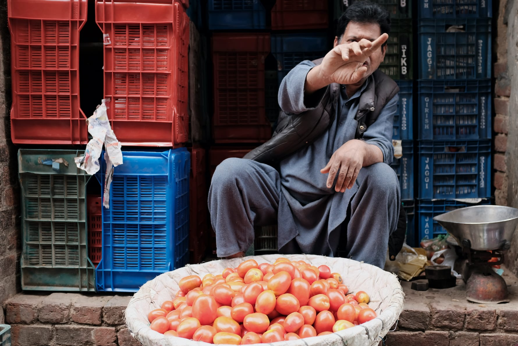 A Man Selling Vegetables in Old Delhi