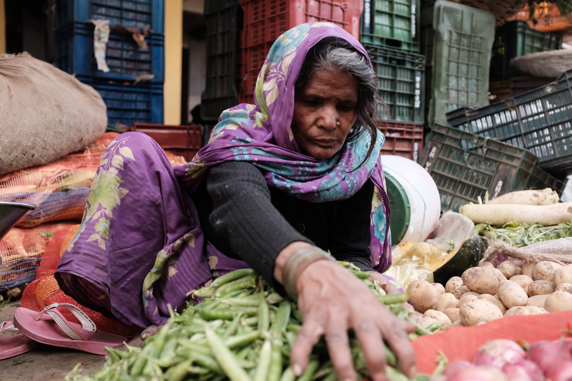 A Woman Selling Vegetables at a Market in Delhi, India