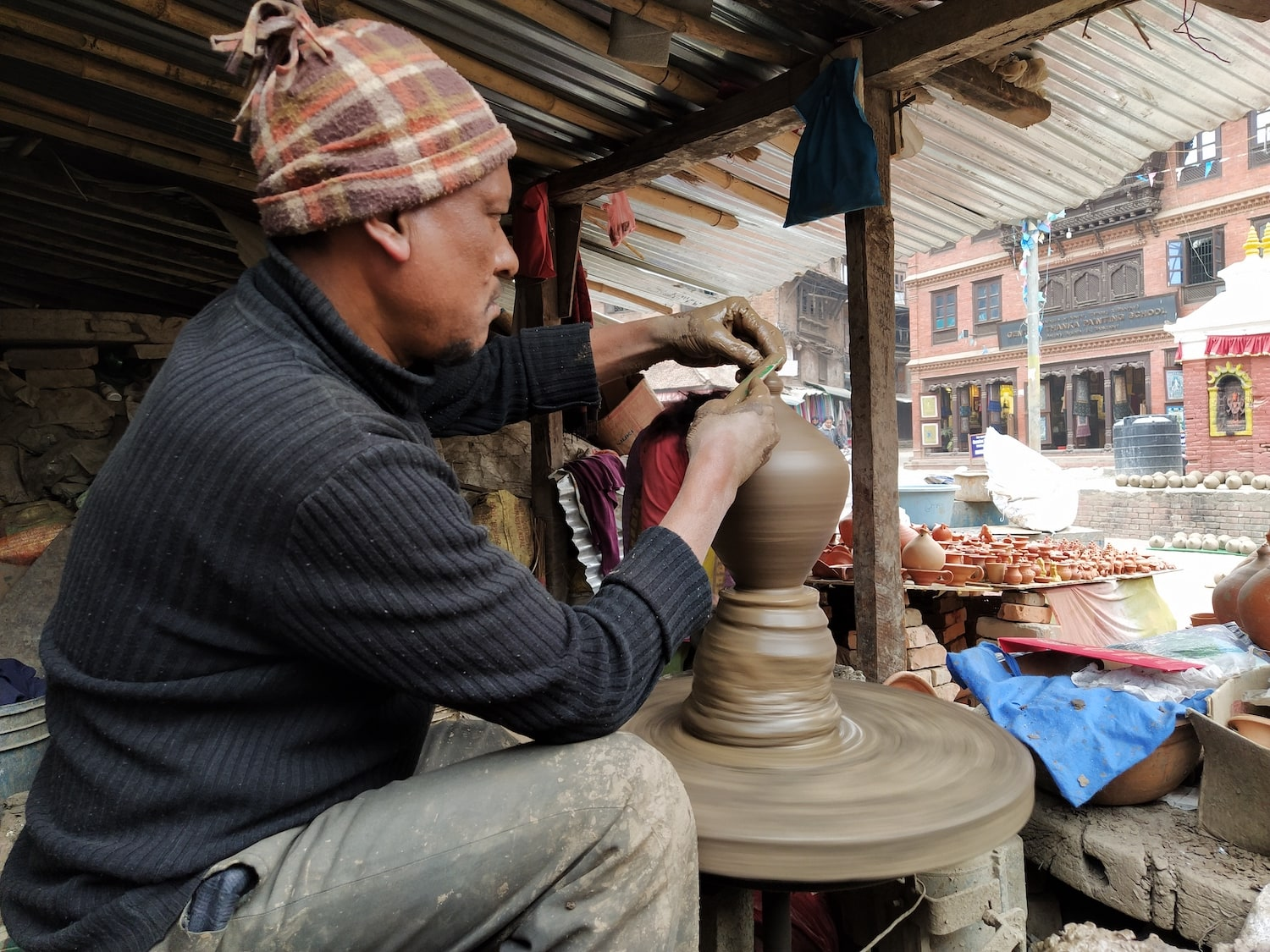 A Potter at Bhaktapur Pottery Square