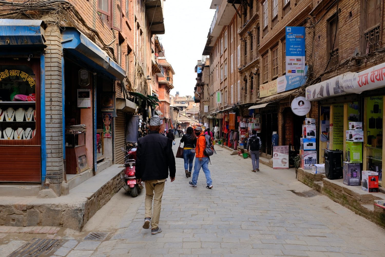 A street of Bhaktapur town in Nepal