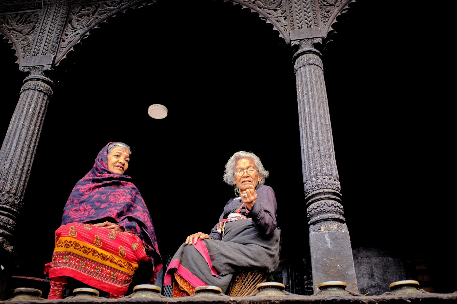 Two women at Dattatraya Temple in Bhaktapur