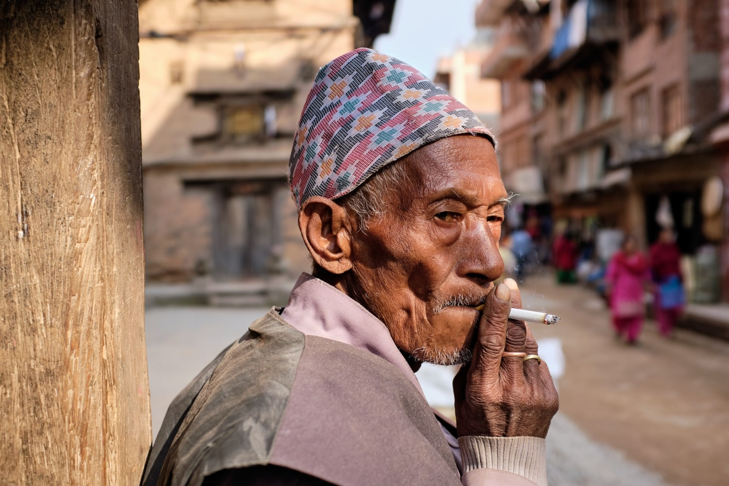 A man smoking in Bhaktapur, Nepal