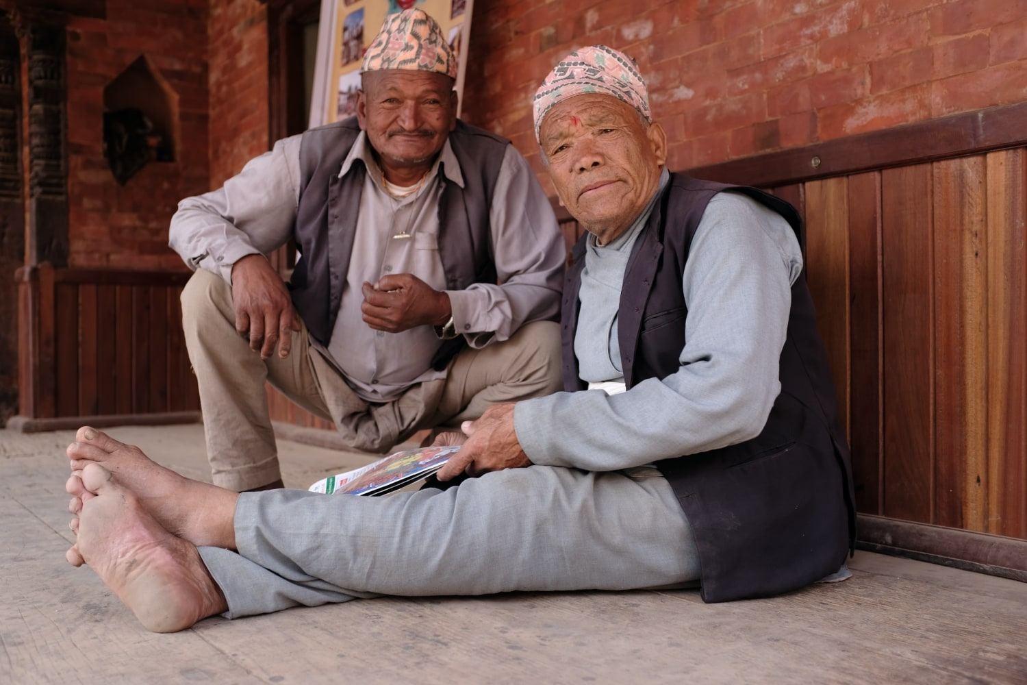 Two Newari men photographed in Bhaktapur, Nepal