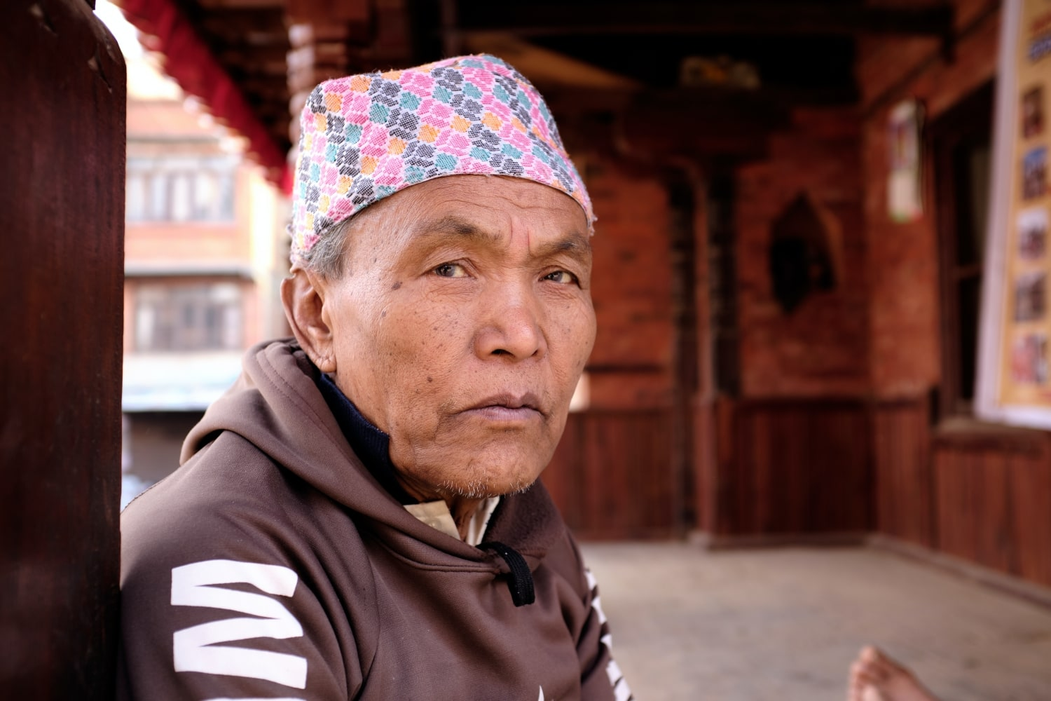 A man wearing Dhaka topi in Bhaktapur