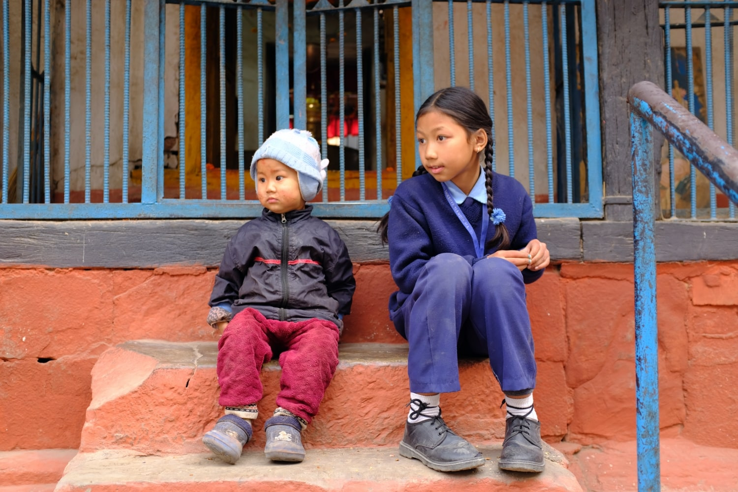 Children Photographed at a Temple in Kathmandu