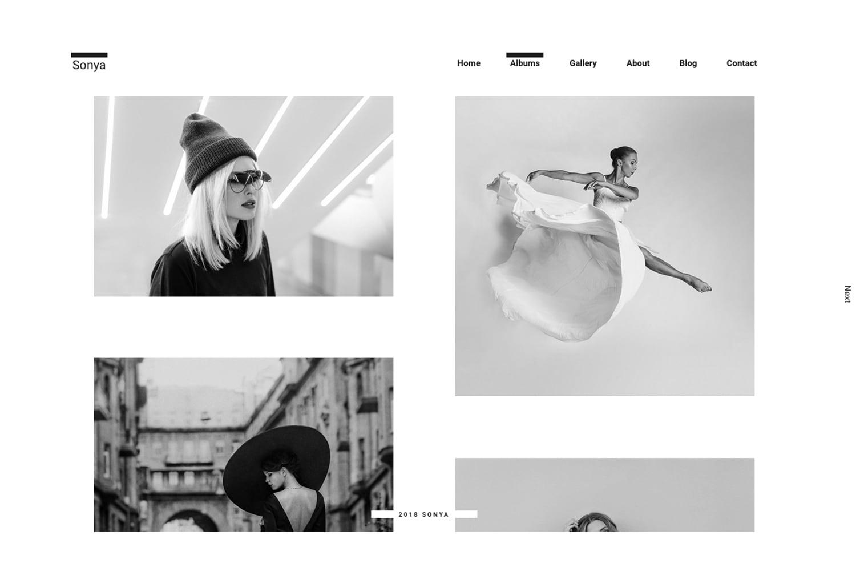 Sonya Minimal Photography Theme for WordPress