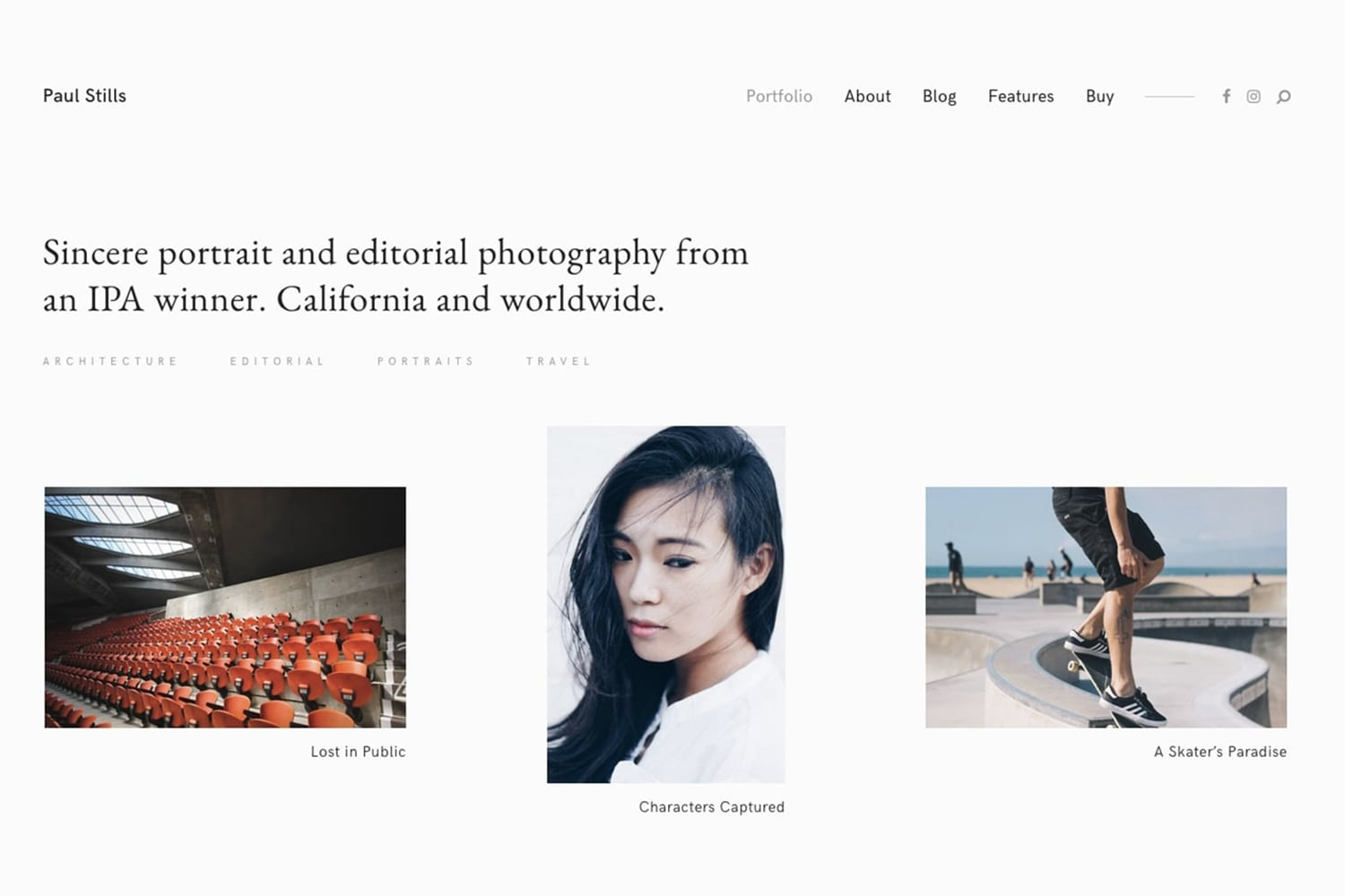 Stills - One of the best photography themes for WordPress