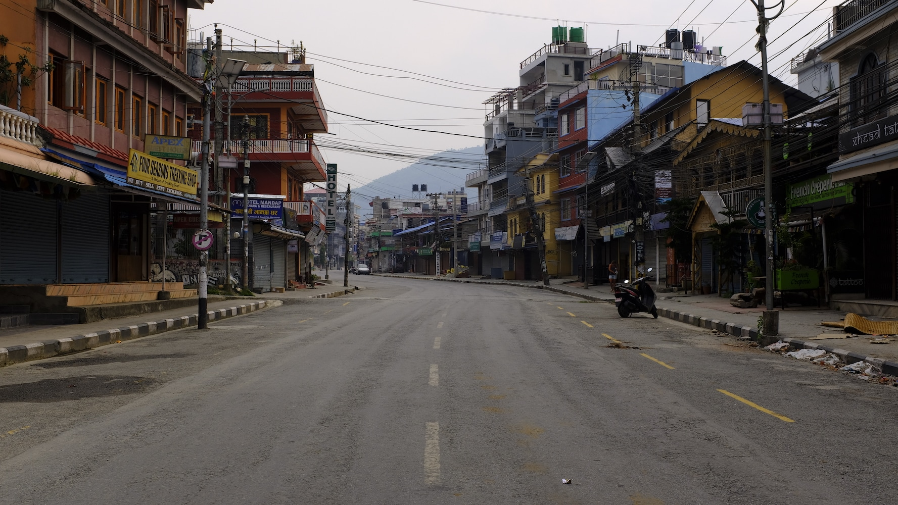 Empty street of Pokhara during Covid-19 lockdown