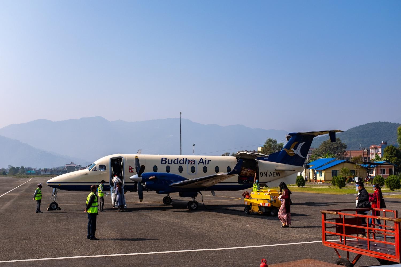 A buddha air flight at Pokhara airport