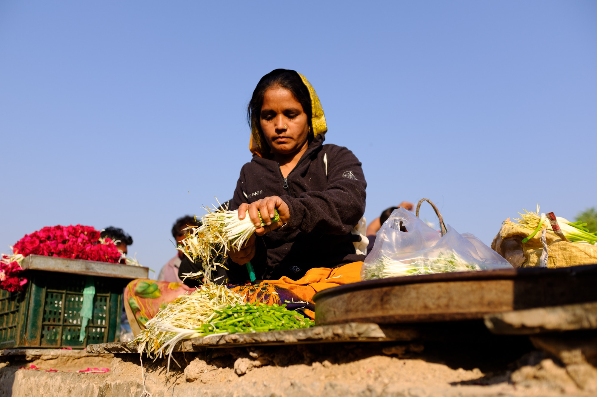 A woman working at Jamalpur flower market, Ahmedabad