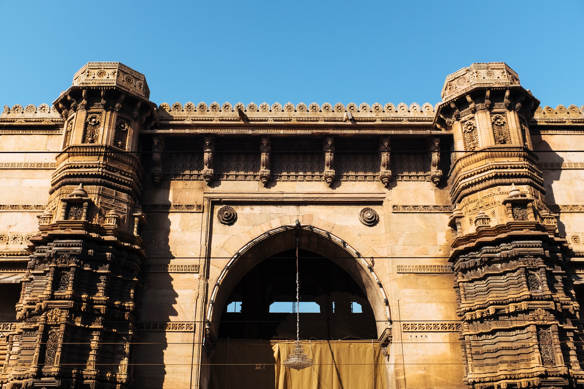 The main gate and base of minarets of Rani Rupmati Mosque, Ahmedabad