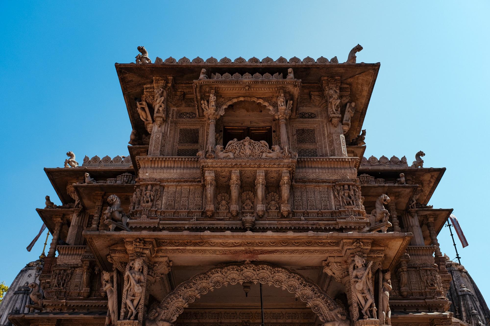 A closer look at Hutheesing Jain Temple entrance